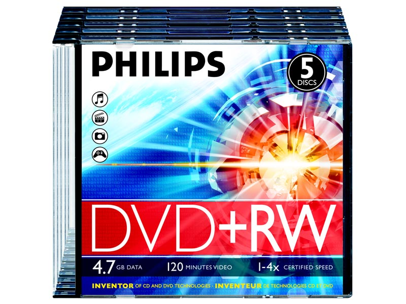 Диски PHILIPS DVD+RW  4.7Gb 4х Slim