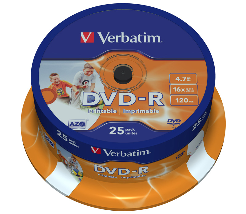 Диск Verbatim DVD-R  4.7 Гб 16х Inkjet Printable Cake Box (25 дисков)