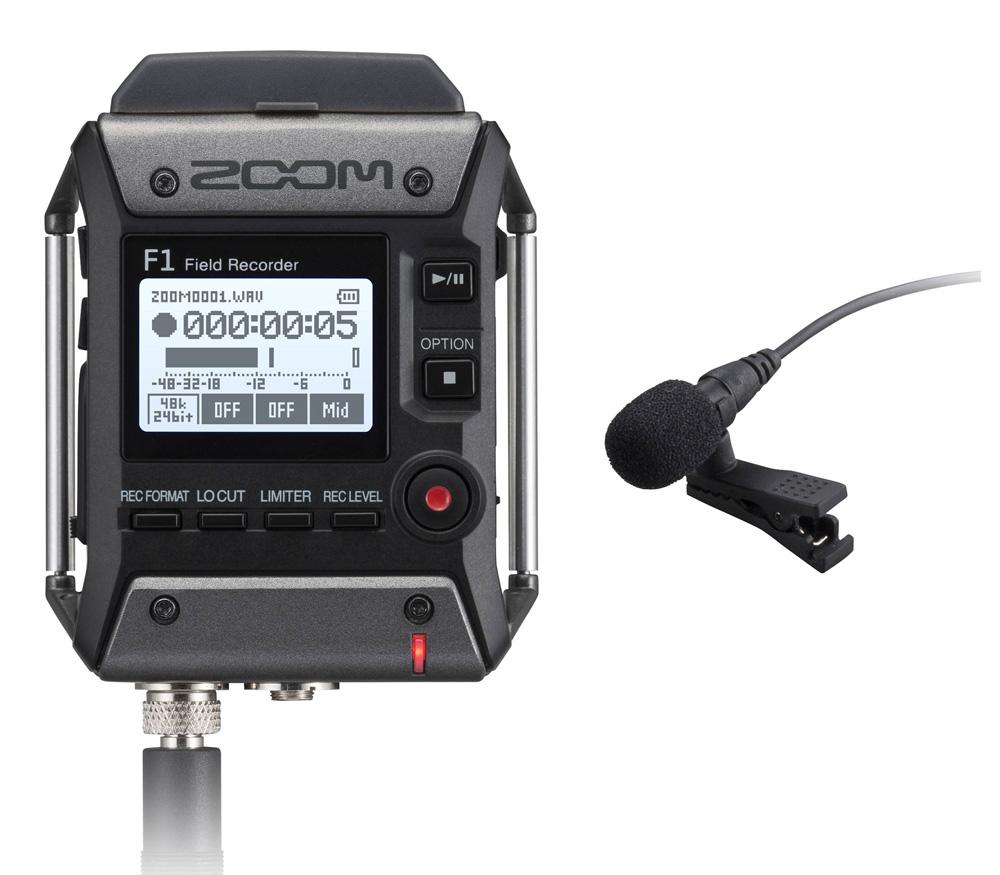 Портативный рекордер Zoom F1-LP с петличным микрофоном