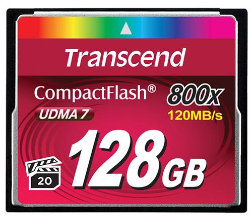 Карта памяти TRANSCEND CompactFlash 128GB 800x Premium (120 Mb/s) фото