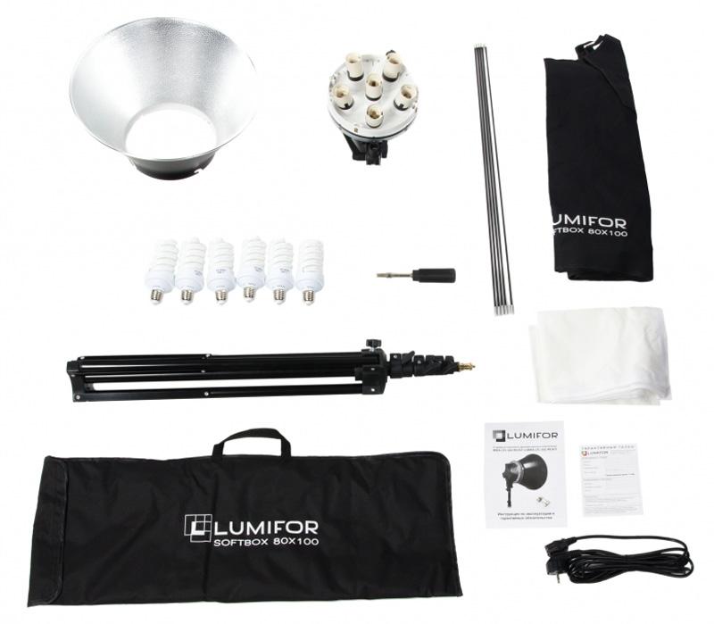 Комплект студийного света Lumifor MIRA LFL-632 SR Kit, флуоресцентный, 6х32 Вт фото