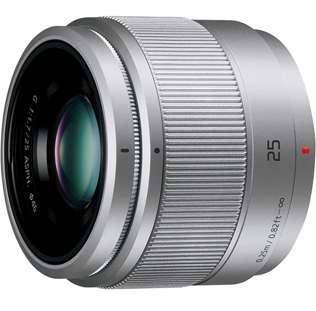 Объектив PANASONIC Lumix G 25mm f/1.7 ASPH, серебристый
