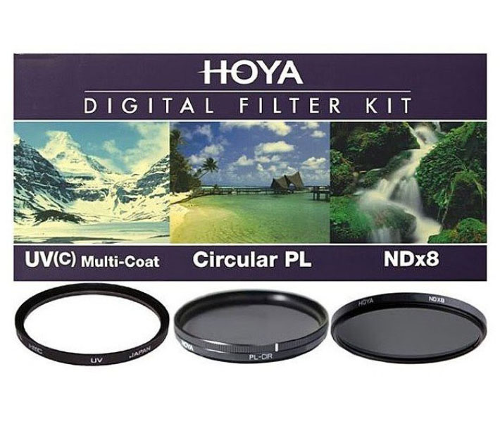 Набор светофильтров HOYA DIGITAL FILTER KIT: 49mm UV (C) HMC MULTI, PL-CIR, NDX8 фото