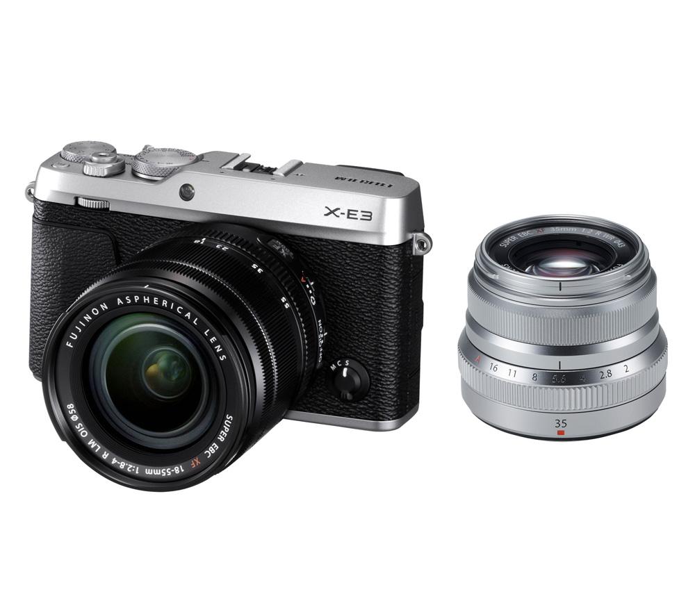 Системный фотоаппарат FUJIFILM X-E3 Kit 18-55mm + XF 35mm f/2 R, серебристый фото