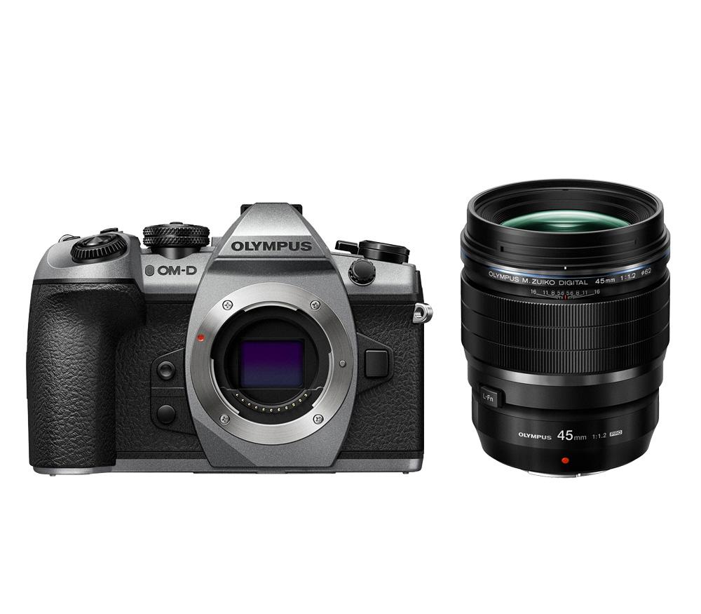Фотоаппарат со сменной оптикой OLYMPUS OM-D E-M1 Mark II kit ED 45mm f/1.2 PRO, серебристый фото