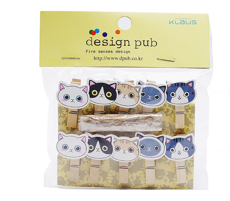 Прищепки для фотокарточек Design Pub с магнитами CS-9010, котята