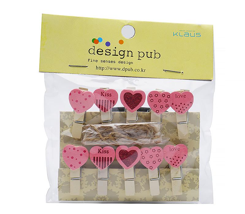 Прищепки для фотокарточек Design Pub с магнитами CS-9009, сердечки