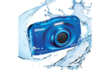 Small nikon coolpix compact camera w150 blue splash  original