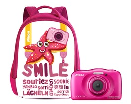 Small nikon w100 with backpack pink