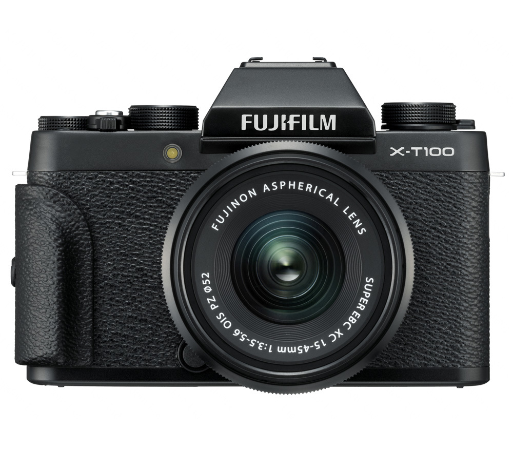 Fujifilm X-T100 Black with grip front