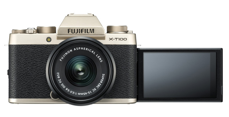 Fujifilm X-T100 Champagne Gold front LCD
