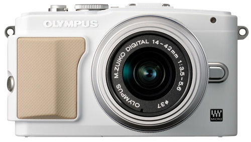 Olympus E-PL5 white front view