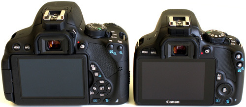 Canon EOS 100D & 700D back view