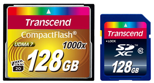CompactFlash 128GB Transcend 1000x и SDXC 128GB Transcend Class 10